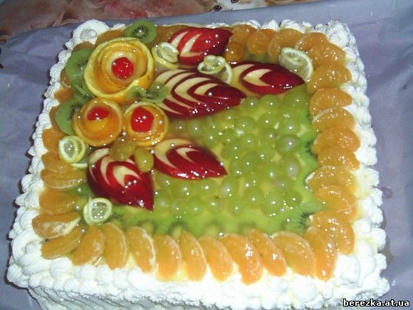 Как украсить фруктами торты в картинках